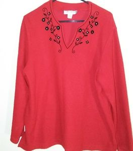 Cathy Daniels red sweater